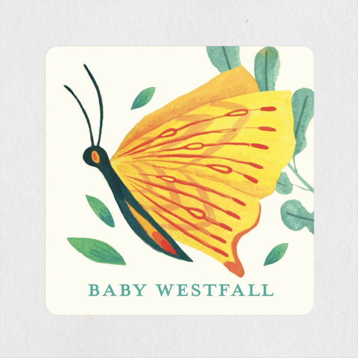 """""""Caterpillar and Butterfly"""" - Baby Shower Stickers in Pond by Morgan Ramberg."""