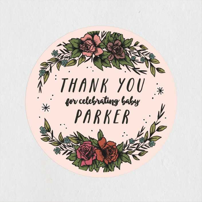 """""""Wild Child"""" - Whimsical & Funny Baby Shower Stickers in Blush by Shiny Penny Studio."""