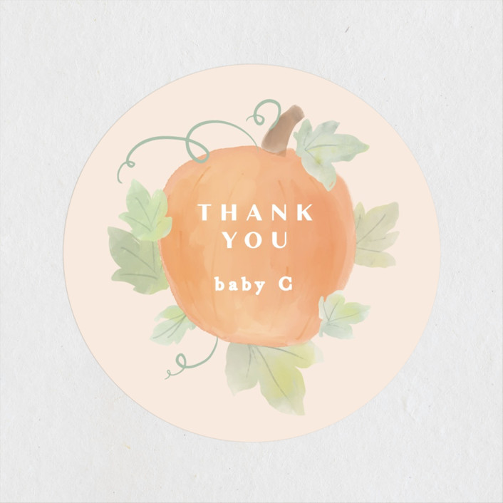 """""""Lil Pumpkin"""" - Whimsical & Funny Baby Shower Stickers in Blush by Creo Study."""