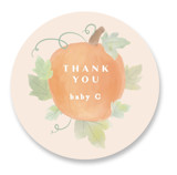 This is a beige baby shower favor label by Creo Study called Lil Pumpkin with standard printing on uncoated sticker paper in sticker.