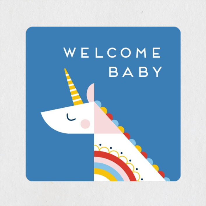 """""""rainbow unicorn"""" - Whimsical & Funny Baby Shower Stickers in Cobalt by Genna Blackburn."""
