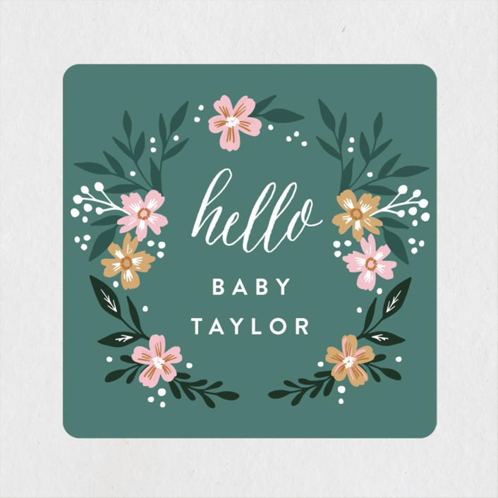 """""""Hello Little One Florals"""" - Baby Shower Stickers in Seagreen by Alethea and Ruth."""