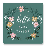 This is a green baby shower favor label by Alethea and Ruth called Hello Little One Florals with standard printing on uncoated sticker paper in sticker.