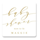 This is a white baby shower favor label by Carolyn MacLaren called Elegant Mom with standard printing on uncoated sticker paper in sticker.