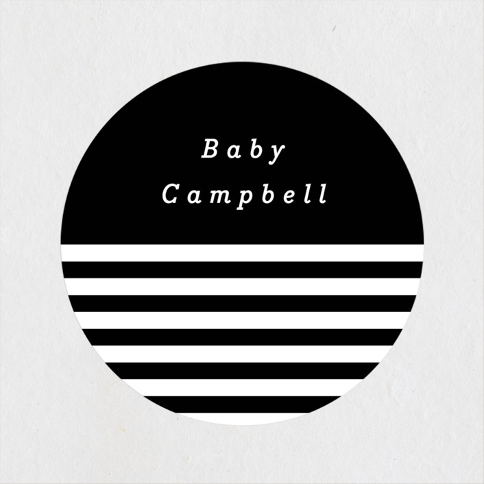 """""""Monochromatic"""" - Preppy Baby Shower Stickers in Oreo by peony papeterie."""