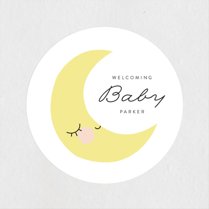 """""""Little Moon"""" - Baby Shower Stickers in Cloud by Angela Thompson."""