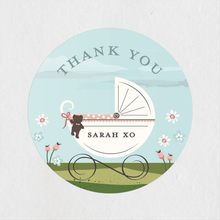 """Just Delivered"" - Baby Shower Stickers in Blush by Susan Moyal."