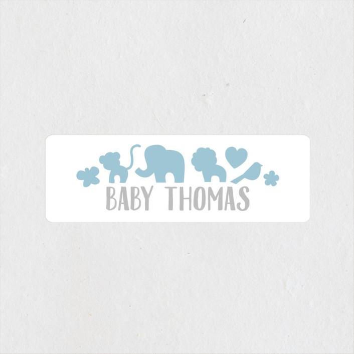 """Fancy Zoo"" - Hand Drawn, Whimsical & Funny Baby Shower Stickers in Baby Blue by Jessie Steury."