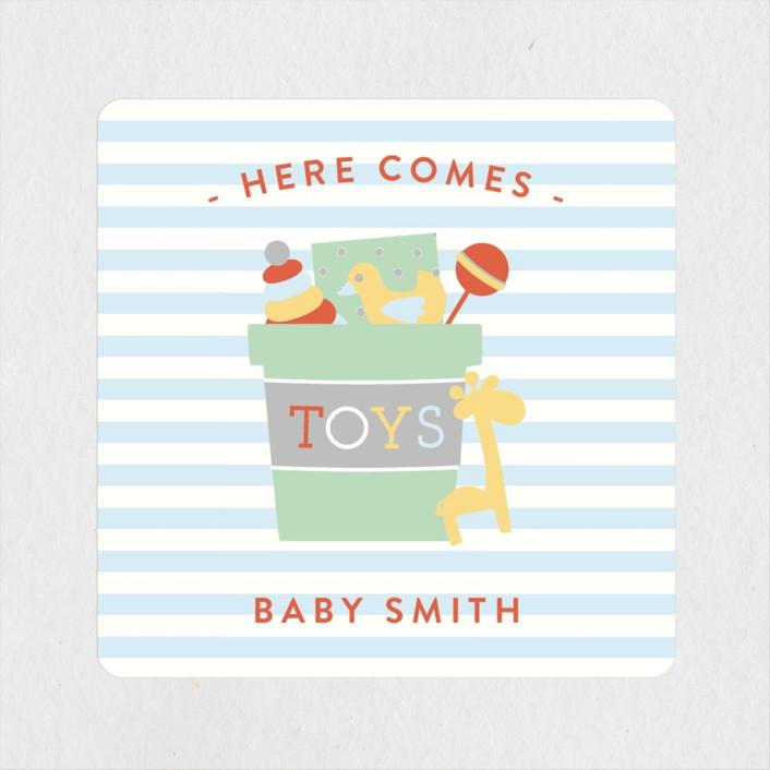 """Little Nursery"" - Vintage Baby Shower Stickers in Carrot by Michelle Poe."