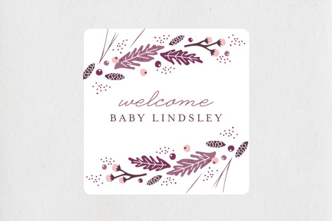 Natural Frame Baby Shower Stickers