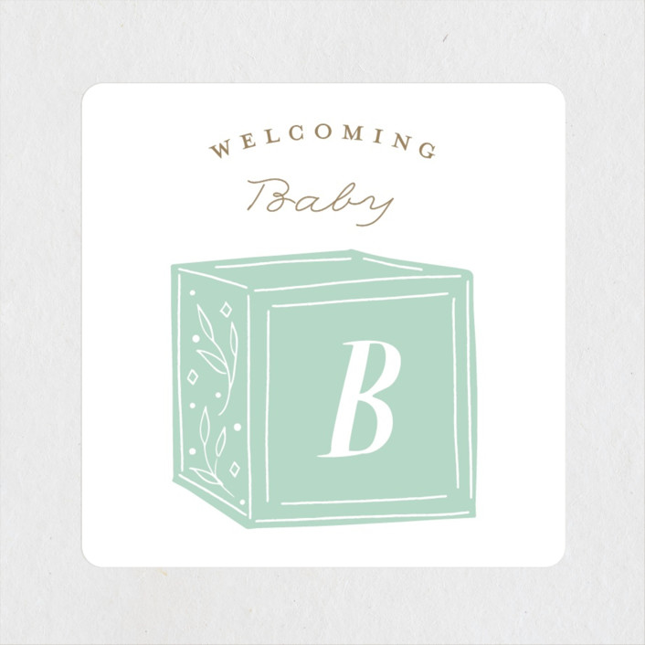 """""""Stacked Blocks"""" - Baby Shower Stickers in Seafoam by Jackie Crawford."""
