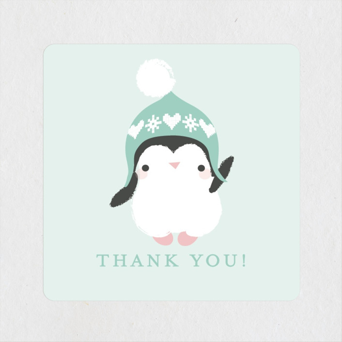"""""""baby penguin"""" - Baby Shower Stickers in Aqua by Itsy Belle Studio."""