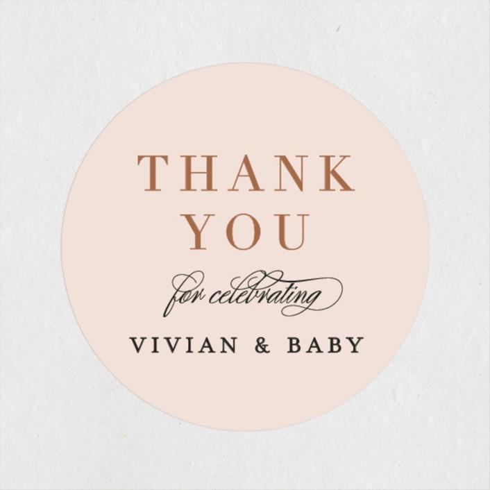 """""""Soft Arch"""" - Modern Baby Shower Stickers in Blush by Erica Krystek."""