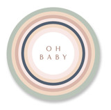 This is a green baby shower favor label by Phrosne Ras called rainbow funk with standard printing on uncoated sticker paper in sticker.