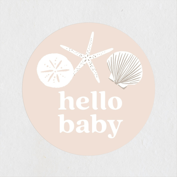 """""""Seashell """" - Whimsical & Funny Baby Shower Stickers in Sand by Alethea and Ruth."""