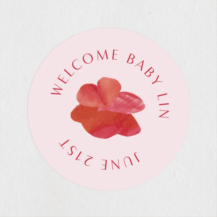 """""""Pretty Petals"""" - Baby Shower Stickers in Poppy by Olivia Raufman."""