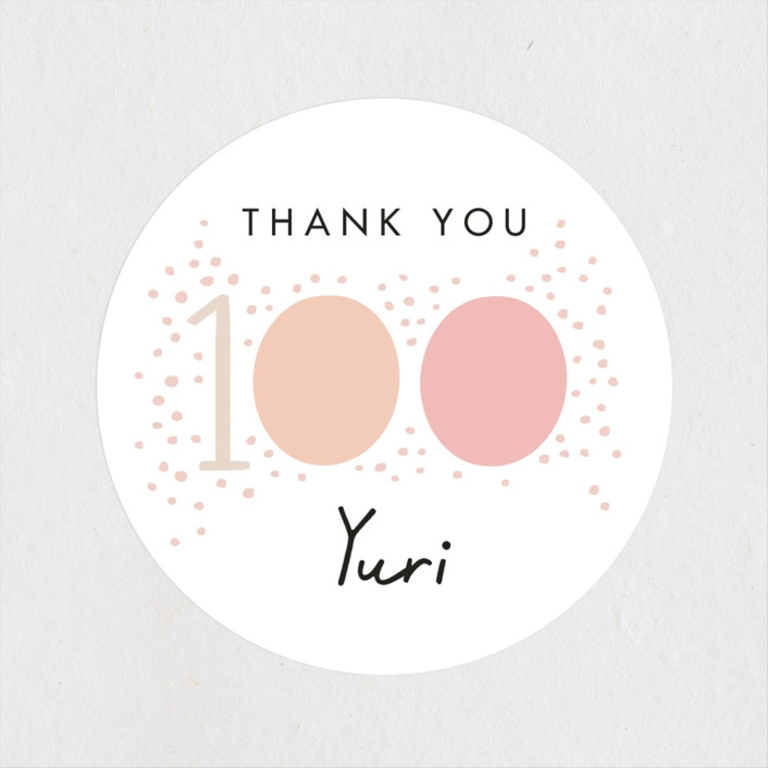 """""""100 days"""" - Baby Shower Stickers in Blush by Alethea and Ruth."""
