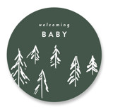 This is a green baby shower favor label by Rebecca Durflinger called Baby Adventure with standard printing on uncoated sticker paper in sticker.
