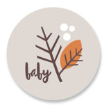 This is a orange baby shower favor label by Robin Ott called forest floor with standard printing on uncoated sticker paper in sticker.
