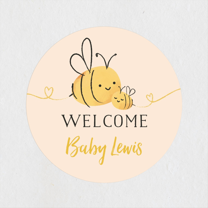 """""""Mommy-to-Bee"""" - Hand Drawn Baby Shower Stickers in Honey by Chryssi Tsoupanarias."""