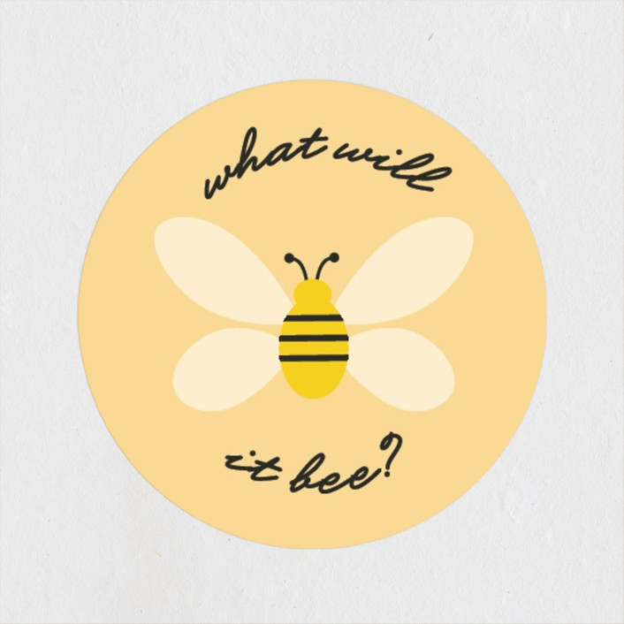 """What Will It Bee"" - Preppy, Hand Drawn Baby Shower Stickers in Honeycomb by Erica Krystek."