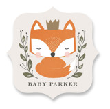 This is a orange baby shower favor label by Lehan Veenker called Royal Fox with standard printing on uncoated sticker paper in sticker.