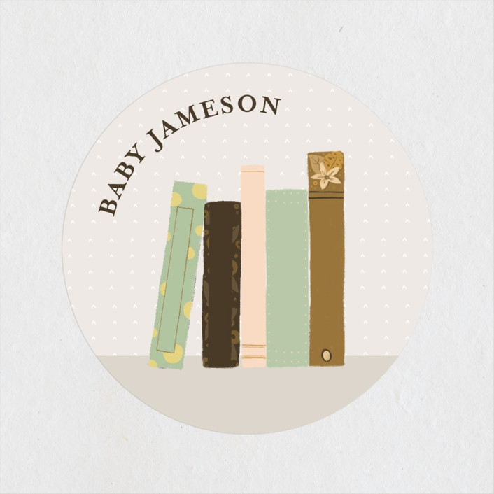 """Book Lovers"" - Whimsical & Funny Baby Shower Stickers in Mustard by Lottie Made Co."