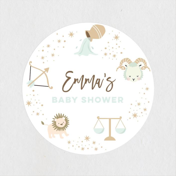 """baby horoscope"" - Baby Shower Stickers in Mocha by peetie design."