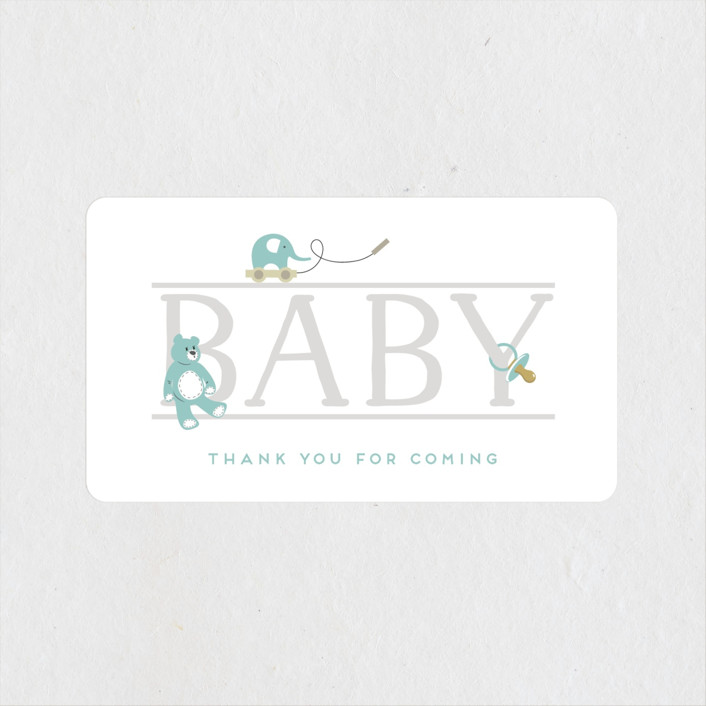 """baby serif"" - Baby Shower Stickers in Lagoon by Faith Dorn."