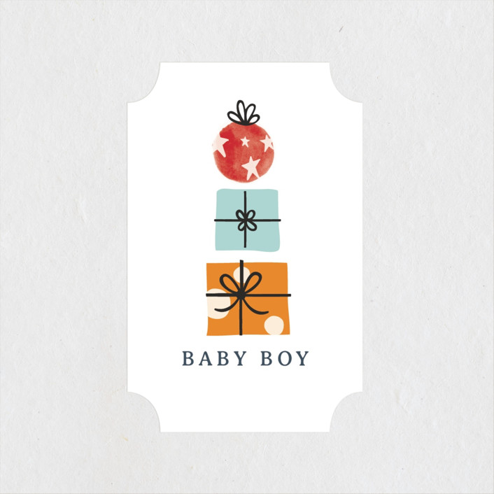 """""""Red Wagon"""" - Whimsical & Funny Baby Shower Stickers in Merlot by JeAnna Casper."""