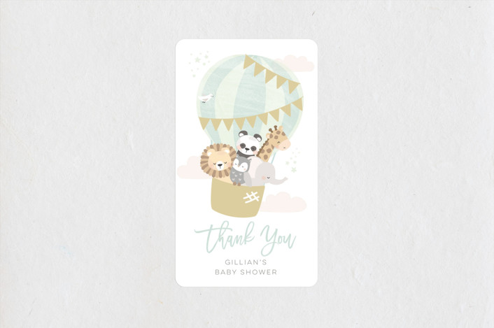 """baby balloon ride"" - Baby Shower Stickers in Seafoam by peetie design."