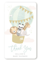 This is a green baby shower favor label by peetie design called baby balloon ride with standard printing on uncoated sticker paper in sticker.