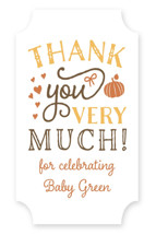 This is a orange baby shower favor label by Sarah Brown called Pumpkin Spice with standard printing on uncoated sticker paper in sticker.