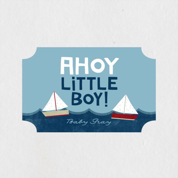"""Ahoy Little Boy"" - Hand Drawn Baby Shower Stickers in Marine by Ashley Hegarty."