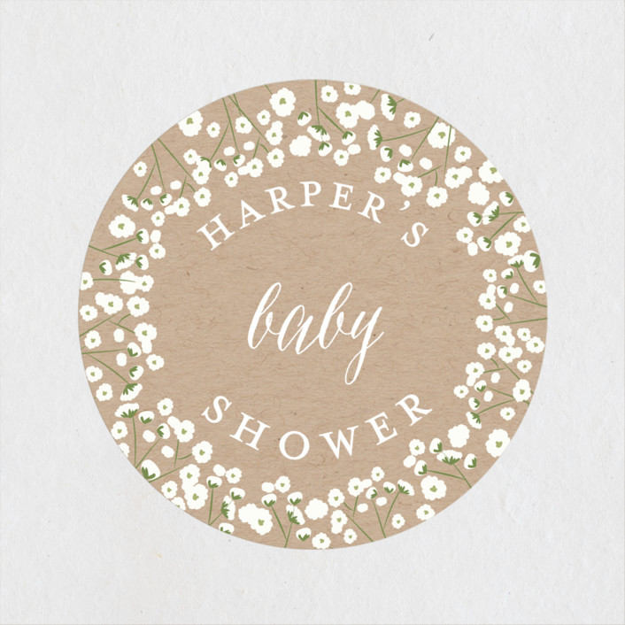 """""""Baby's Breath"""" - Rustic Baby Shower Stickers in Kraft by Susan Moyal."""