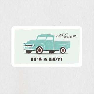 vintage baby truck Baby Shower Stickers