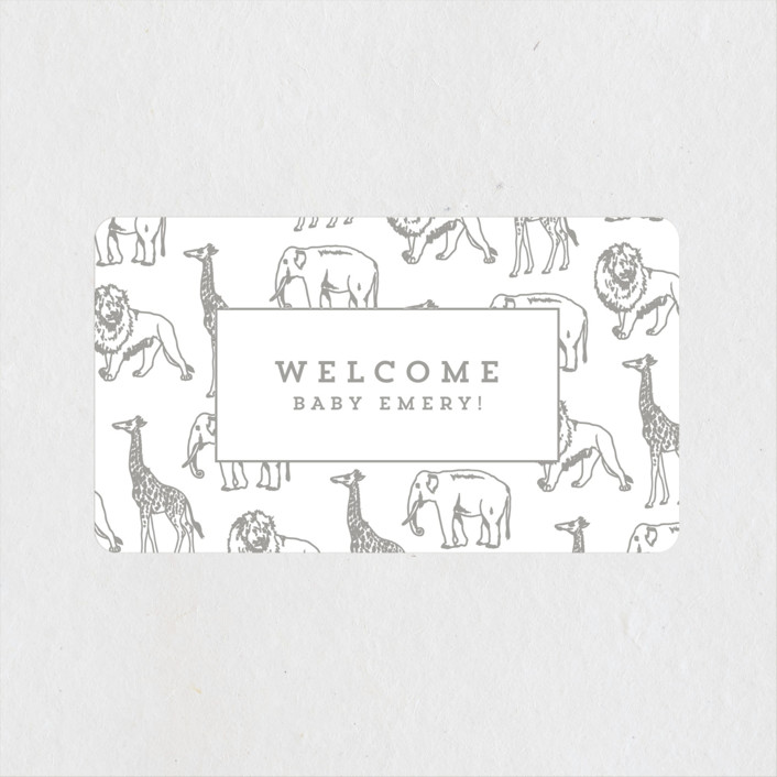 """""""Animal Parade"""" - Modern, Whimsical & Funny Baby Shower Stickers in Stone by Waldo Press."""