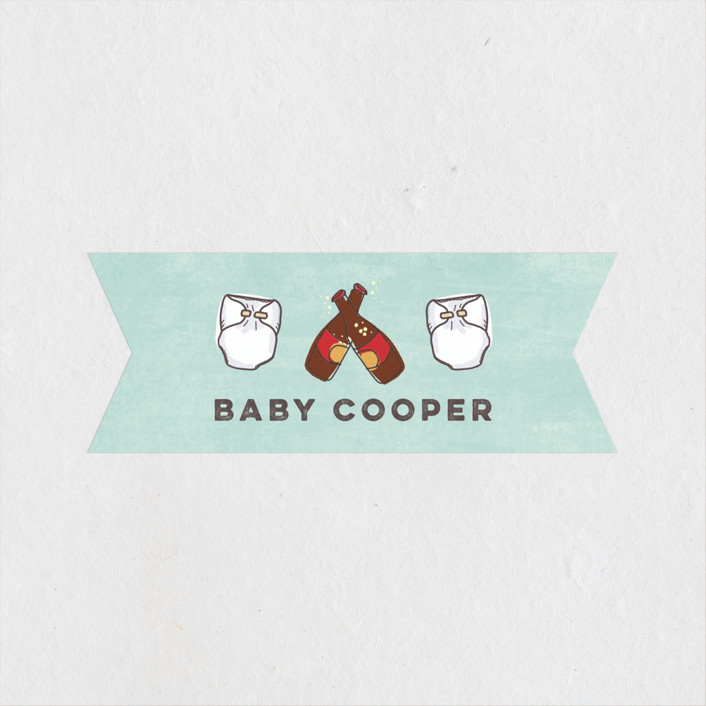 """Dudes & Diapers"" - Baby Shower Stickers in Teal by Lissabeth Anglin."