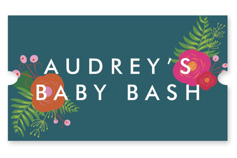 Funky Florals Baby Shower Stickers