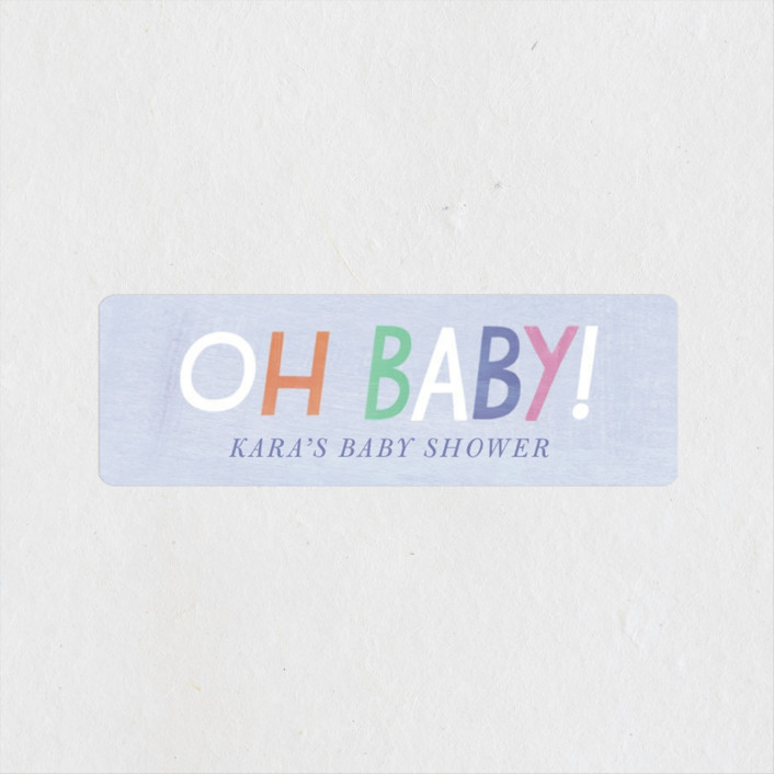 """""""Oh Baby! Rain Cloud"""" - Baby Shower Stickers in Periwinkle by melanie mikecz."""