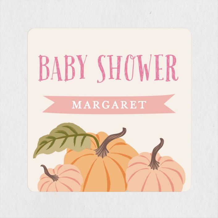 """""""Autumn Pumpkin"""" - Baby Shower Stickers in Peach by Karidy Walker."""