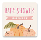 This is a pink baby shower favor label by Karidy Walker called Autumn Pumpkin with standard printing on uncoated sticker paper in sticker.