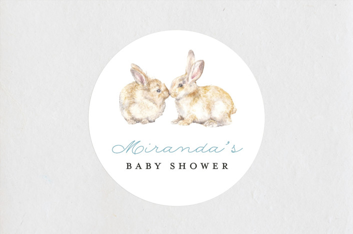 """Snuggling Bunnies"" - Baby Shower Stickers in Pond by Lauren Rogoff."