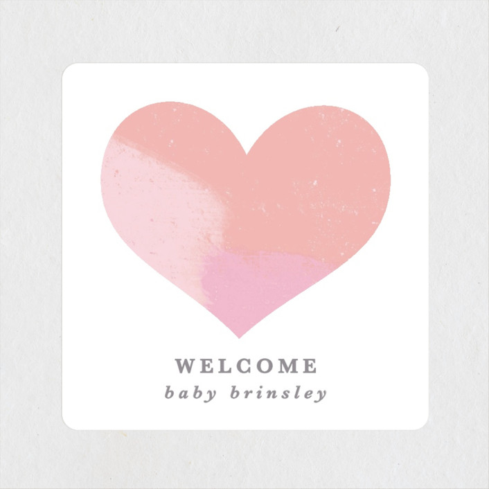 """""""Hello Sweet baby"""" - Baby Shower Stickers in Carnation by Creo Study."""