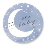 This is a blue baby shower favor label by Lisa McLean called Over the Crescent Moon with standard printing on uncoated sticker paper in sticker.