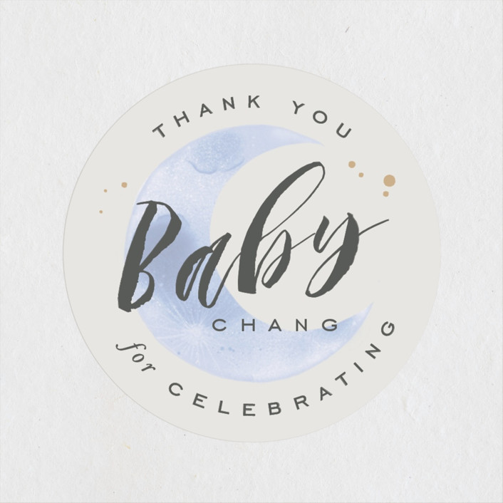 """""""Moon And Back"""" - Baby Shower Stickers in Ocean Mist by Leah Bisch."""