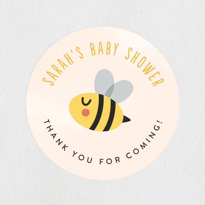 """""""Ba-beez"""" - Whimsical & Funny Baby Shower Stickers in Sunshine by Ink and Letter."""