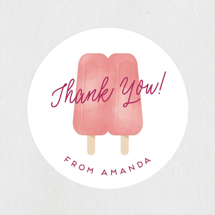 """""""Popsicle Twins"""" - Whimsical & Funny Baby Shower Stickers in Berry by Ink and Letter."""