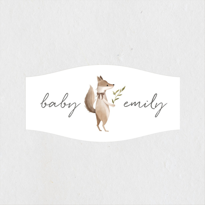 """""""Woodland Baby"""" - Whimsical & Funny Baby Shower Stickers in Neutral by Vivian Yiwing."""