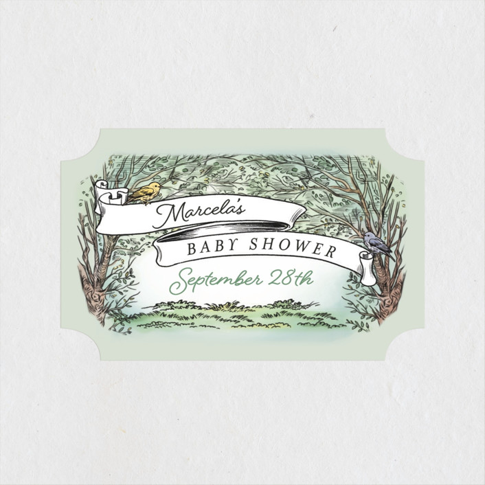 """""""Victorian Forest Scene"""" - Whimsical & Funny Baby Shower Stickers in Mint by Becky Nimoy."""